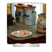 Brown Eggs And Ginger Jars Shower Curtain