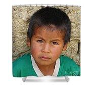 Brown Eyed Bolivian Boy Shower Curtain