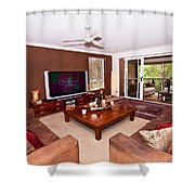 Brown Living Room Shower Curtain