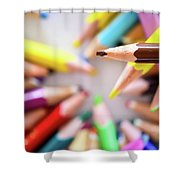 Brown Pencil Shower Curtain