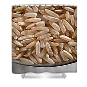 Brown Rice In Bowl Shower Curtain by Steve Gadomski