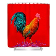 Brown Rooster On Red Background Shower Curtain