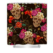 Brown Skulls And Flowers Shower Curtain