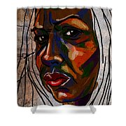 Brown Woman On Stone Shower Curtain