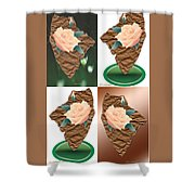 Brown Yellow Green Expressions 4 Up Shower Curtain