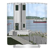 Browns Point Lighthouse On Commencement Bay Shower Curtain