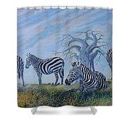 Browsing Zebras Shower Curtain