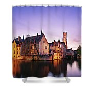 Bruges At Dusk Shower Curtain by Barry O Carroll