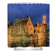 Bruges At Night, Belgium Shower Curtain