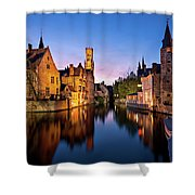 Bruges Canals At Blue Hour Shower Curtain by Barry O Carroll