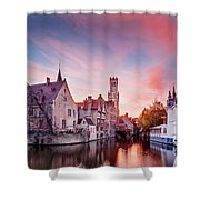 Bruges Sunset Shower Curtain by Barry O Carroll