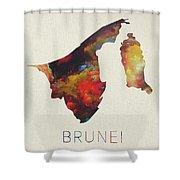 Brunei Watercolor Map Shower Curtain
