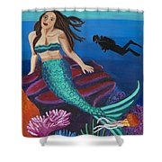 Brunette Mermaid With Turquoise Tail Shower Curtain