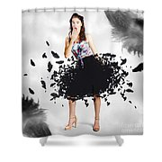 Brunette Pin-up Woman In Gorgeous Feather Skirt Shower Curtain