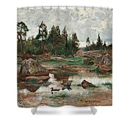 Bruno Liljefors,   Landscape From Uppland. 2 Shower Curtain
