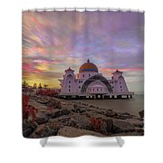 Brush Stroke Cloud Over Selat Mosque Shower Curtain