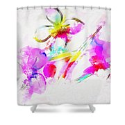 Brushed Abstract Flowers Shower Curtain