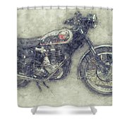 Bsa Gold Star 1 - 1938 - Motorcycle Poster - Automotive Art Shower Curtain