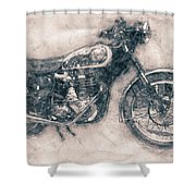 Bsa Gold Star - 1938 - Motorcycle Poster - Automotive Art Shower Curtain