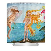 Bubblegum Angel And The Birth Of Venus Shower Curtain