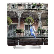 Bubbles Blow From An Ornate Balcony In New Orleans At Mardi Gras Shower Curtain