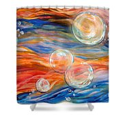 Bubbles In Tumult Shower Curtain