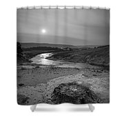 Bubbling Hot Spring In Yellowstone National Park Bw Shower Curtain