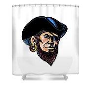 Buccaneer Eye Patch Scratchboard Shower Curtain