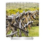 Buck And Rail Fence In The High Country Shower Curtain
