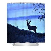 Buck Silhouette In Blue Shower Curtain