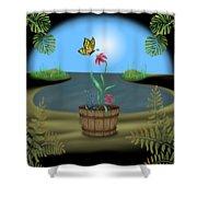 Bucket Butterfly Shower Curtain