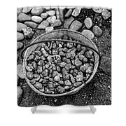 Bucket Of Rocks In Black And White Shower Curtain