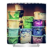 Buckets Of Liquid Paint Standing In A Workshop. Shower Curtain