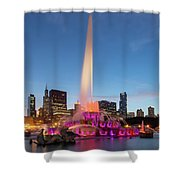 Buckingham Fountain At Dusk II Shower Curtain