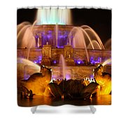 Buckingham Fountain At Night Shower Curtain