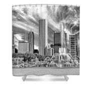 Buckingham Fountain Skyscrapers Black And White Shower Curtain