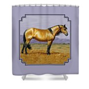 Buckskin Mustang Stallion Shower Curtain by Crista Forest