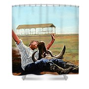 Bucky Gets The Bull Shower Curtain by Tom Roderick
