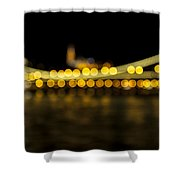 Budapest Bokeh Bridge 2 Shower Curtain