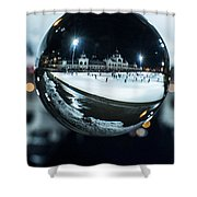 Budapest Globe - City Park Ice Rink Shower Curtain