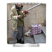 Budapest Flower Woman Shower Curtain