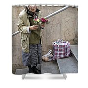Budapest Flower Woman Shower Curtain