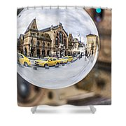 Budapest Globe - Great Market Hall Shower Curtain