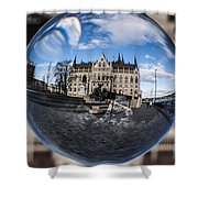 Budapest Globe - Houses Of Parliament Shower Curtain