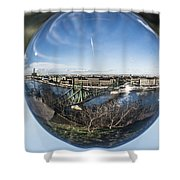 Budapest Globe - Liberty Bridge Shower Curtain