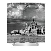 Budapest Parliament From The Chain Bridge Shower Curtain