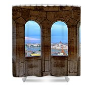 Budapest Parliament From The Fishermans Bastion Shower Curtain