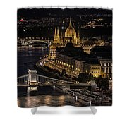 Budapest View At Night Shower Curtain
