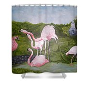Buddah And The Flamingos Shower Curtain
