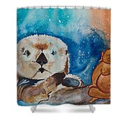 Buddha And The Divine Otter No. 1374 Shower Curtain